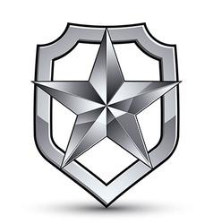 3d heraldic template with pentagonal silver star vector