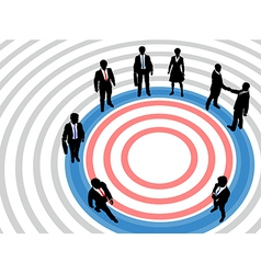Business people on targeted marketing circle vector image vector image