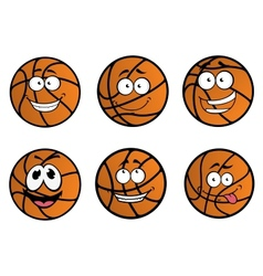 Cartooned basketball ball characters vector image vector image
