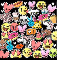 emoji smile faces on a black background vector image