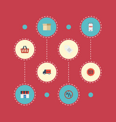 flat icons support shop label and other vector image vector image