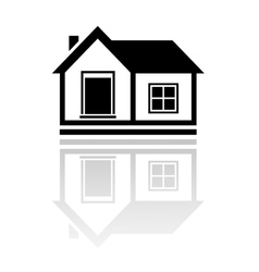 isolated house with reflection vector image vector image