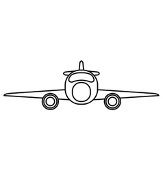 jet airplane private transport front view outline vector image
