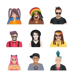 Subcultures People Icons Set vector image