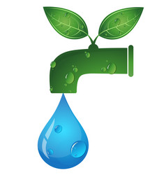 water tap and a drop of water eco symbol vector image vector image