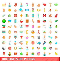 100 care and help icons set cartoon style vector image