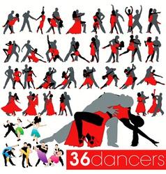 36 dancers silhouettes set vector