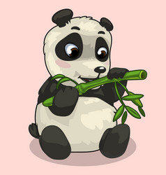 baby panda with sprig of bamboo on pink background vector image vector image