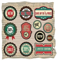 Collection of vintage retro grunge sale labels vector image vector image