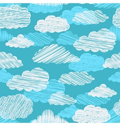 seamless pattern with scribble clouds vector image vector image