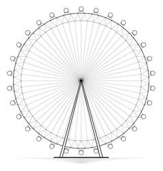 Silhouetted carousel ferris wheel high openwork vector