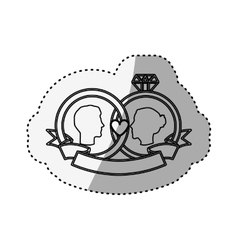 Sticker silhouette rings engagement with labels vector