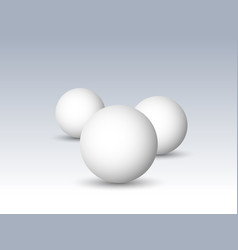 three white spheres balls or orbs 3d vector image vector image