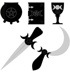 wiccan attributes vector image vector image