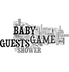 baby shower game ideas text word cloud concept vector image vector image