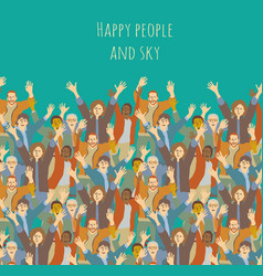 big group happy people and sky vector image vector image