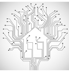 Circuit board house vector image vector image