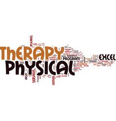 Excel physical therapy text background word cloud vector