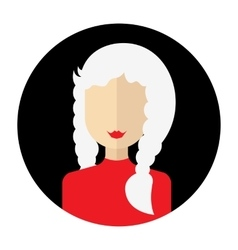 female face avatar round flat icon with women vector image vector image
