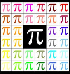 Pi greek letter sign felt-pen 33 colorful vector