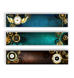 Three Banners with Clock vector image vector image