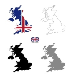 United Kingdom country black silhouette and with vector image