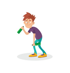 Young drunk guy with bottles in hands people vector