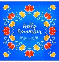 Hello November modern card Autumn background vector image vector image