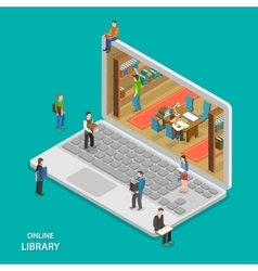 Online library flat isometric concept vector image vector image