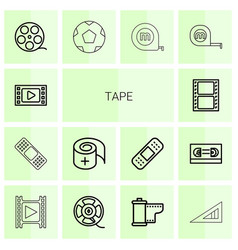 14 tape icons vector