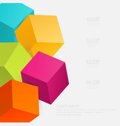 3d cube infographics vector