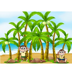 A beach with coconut trees and monkeys vector
