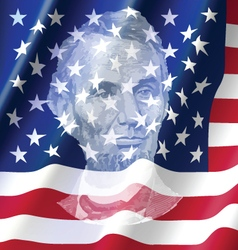 abraham lincoin on united america flag vector image