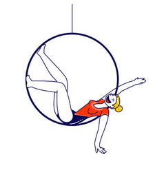 Acrobat female character sitting in hanging ring vector