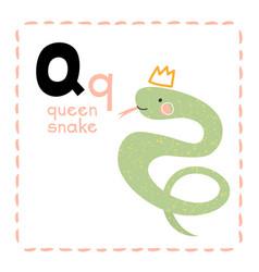 Alphabet letter q for queen snake for teaching vector