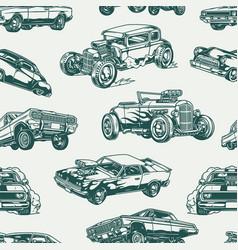 american custom cars vintage seamless pattern vector image