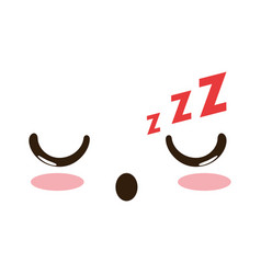 Asleep face emoji kawaii character vector