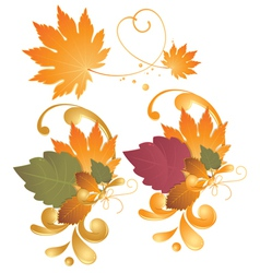 Autumn leaves design elements vector image