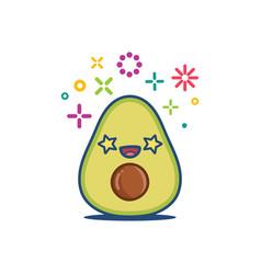 Avocado smiling kawaii cartoon vector