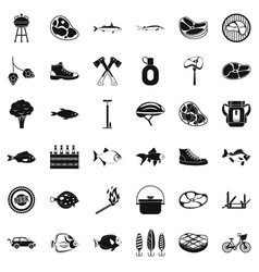 bbq rest icons set simple style vector image
