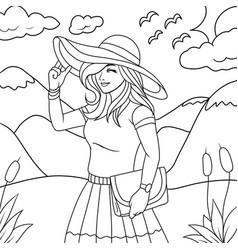 beautiful girl in nature coloring book vector image