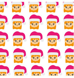 beauty girl head with christmas hat background vector image
