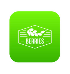 berries icon green vector image