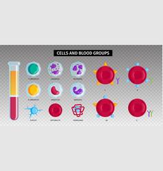 Blood types cells transparent set vector