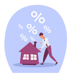 businessman mortgage house credit percent crisis vector image