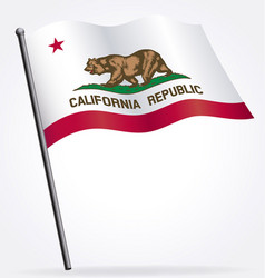 California ca state flag waving on flagpole vector