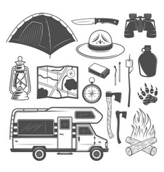 Camping and traveling black design elements vector