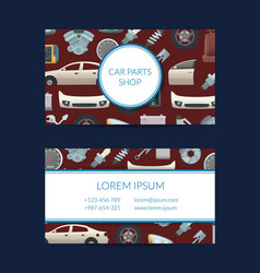 car parts business card template vector image