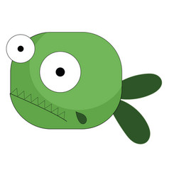 Cartoon green fish with two bulging eyes or color vector