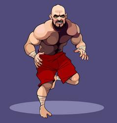 Cartoon muscular man wrestler in red shorts vector